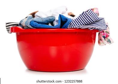 Basket plastic basin with clothes laundry on white background isolation