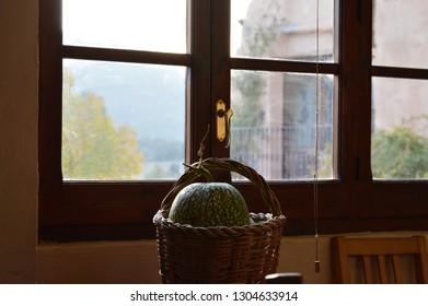 Basket with pumpkin