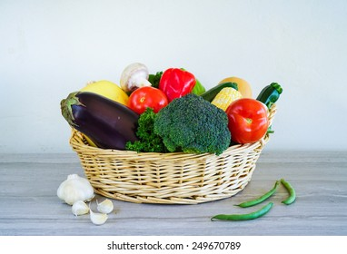 Basket with Raw Vegetables