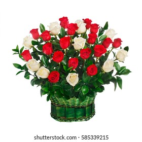 Basket of red and white roses