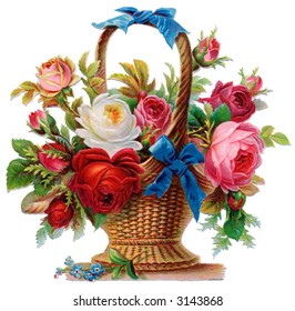 A basket of roses - circa 1890 Mother's Day greeting card illustration