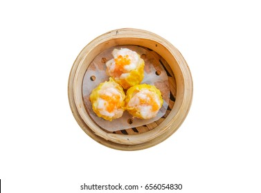 basket of Shumai a traditional Chinese dumpling usually served as dim sum isolated