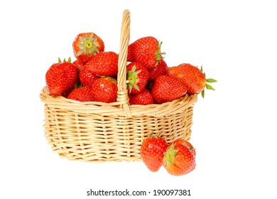 basket of strawberries, isolated