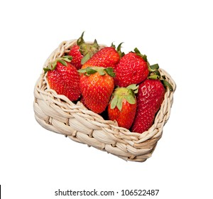 a basket of strawberries isolated on white background