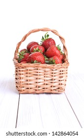 basket of strawberries isolated on white background front view