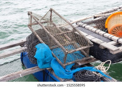 Basket trap catch crabs,lobsters,fishes on  the ocean