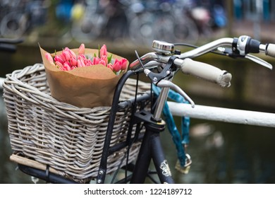 basket with tulips on a bike at the Amsterdam