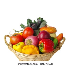 Basket with vegetables. White background