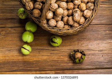basket with walnuts on the table, photographed close up