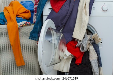 basket and wash machine of dirty laundry