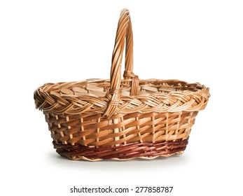 The basket wattled of rods is isolated on white