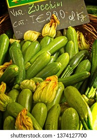 Basket of zucchini on sale at  market