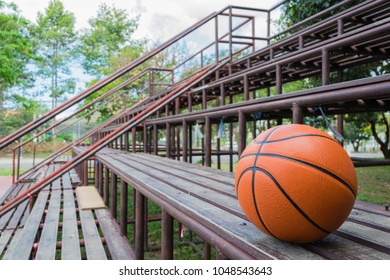 Basketbal on wood for background