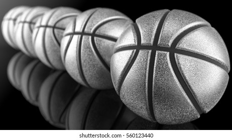 Basketball. 3D illustration. 3D CG. Burred background. High resolution.