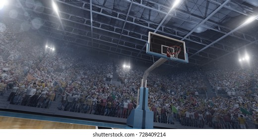 Basketball arena in 3D with a lot of fans, bright light and a basketball ring. Bottom view.