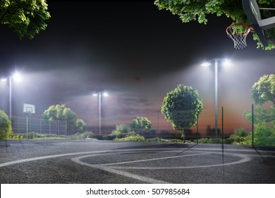 Basketball arena in the night lights