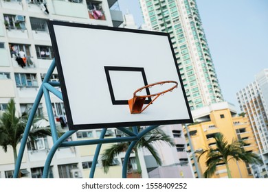 Basketball backboard on the playground in the Choi Hung estate, Hong Kong city.
