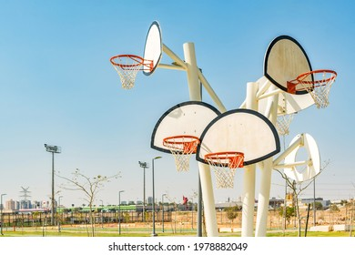 Basketball backboards and hoops in sports park. Sport background.