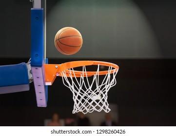 Basketball ball bounced off the basketball shield and flies into the basket