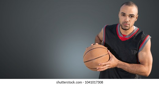 Basketball ball in a male hands
