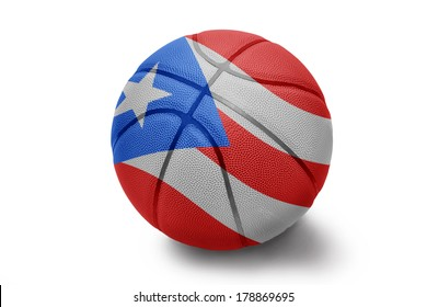 Basketball ball with the national flag of Puerto Rico on a white background