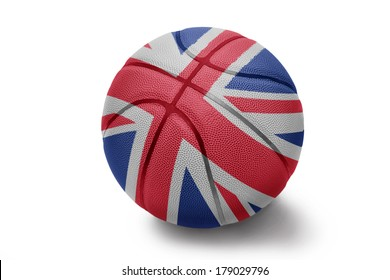 Basketball ball with the national flag of United Kingdom on a white background