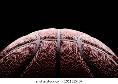 basketball ball on black background.