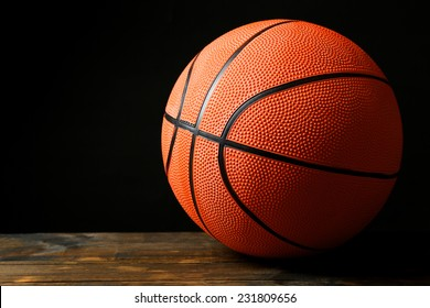 Basketball ball on black background