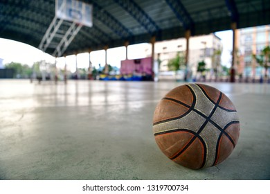 Basketball ball on the court floor