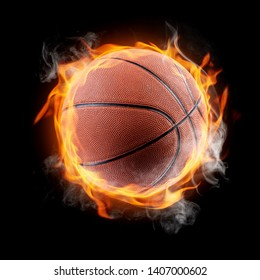 Basketball ball on fire on a black background