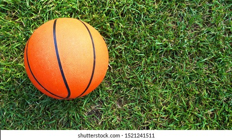 Basketball ball on green grass in the rays of the evening sun