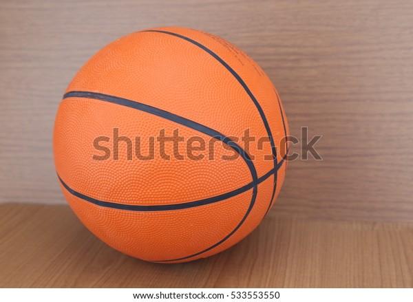 basketball ball on wood background