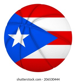 Basketball ball with Puerto Rico flag. Isolated on white.