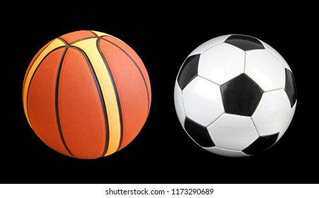 Basketball ball and soccer ball isolated on black background.