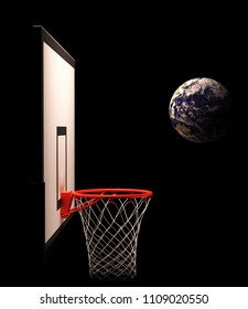 Basketball ball-Earth flies to the basket
