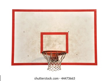 Basketball board with hoop net isolated on white background