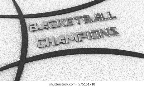 BASKETBALL CHAMPIONS Logo. 3D illustration. 3D CG. High resolution.