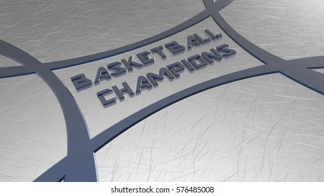 BASKETBALL CHAMPIONS Logo. 3D illustration. High resolution.