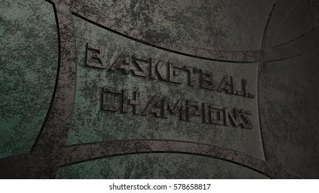 BASKETBALL CHAMPIONS Logo. 3D illustration. 3D CG. High resolution.