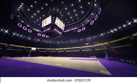 basketball court angle side view, sport topic arena interior illustration