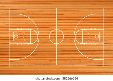 Basketball court floor with line on wooden