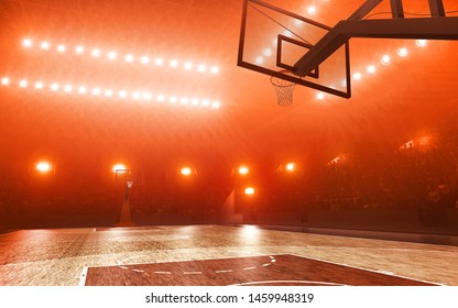 Basketball court with hoop. Red floodlit background