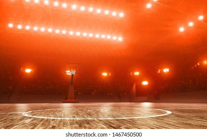 Basketball court with hoop. Red illumination