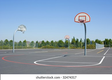 Basketball court on the black top