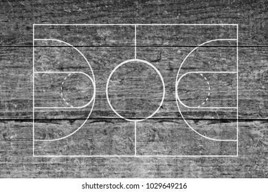 Basketball court on wood surface background texture