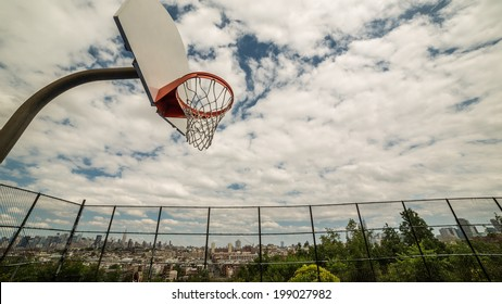Basketball Court overlooking New York City Skyline