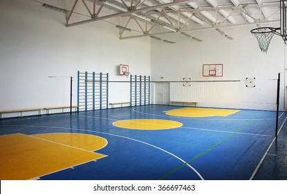 Basketball court, school gym indoor