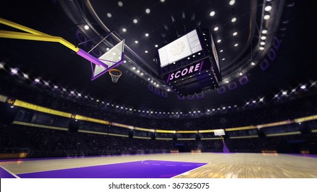 basketball court with spectators and spotlights, sport topic arena interior illustration