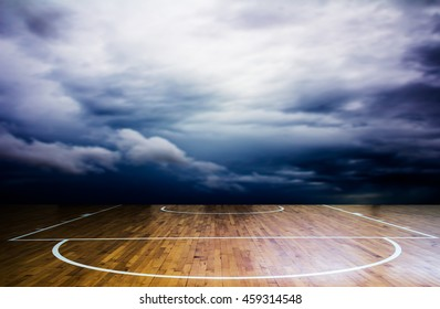 basketball court with storm cloud over background