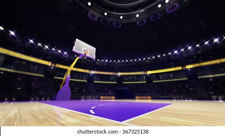 basketball court view with spectators and spotlights, sport topic arena interior illustration